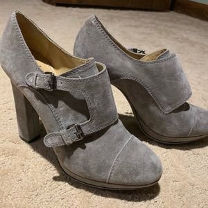 Grey suede high heeled Lanvin shoes